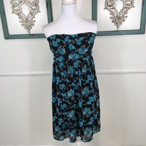 Torrid Black Blue Floral Strapless Dress Large